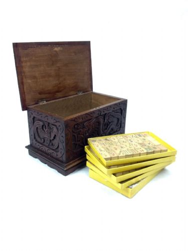 Antique Mahjong Set Bamboo And Bone In Carved Wooden Box Dragon And Lotus Design